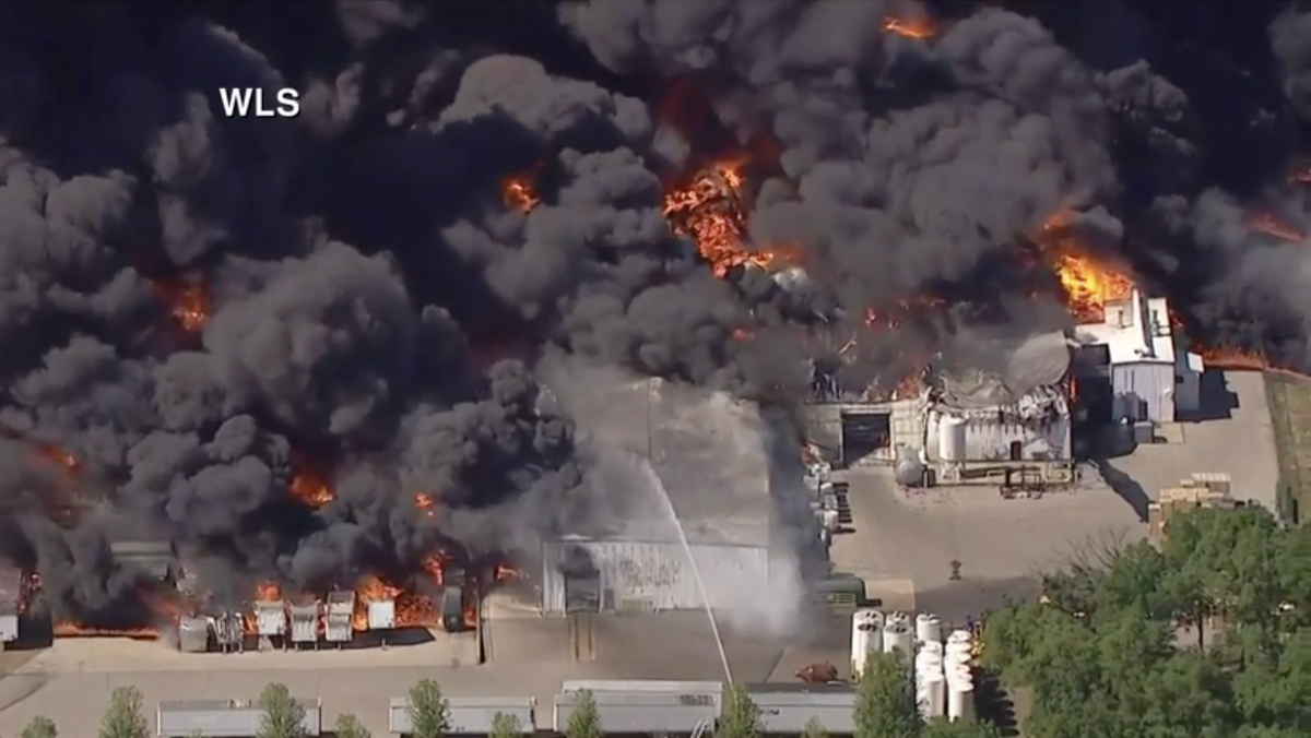A large fire broke out at a chemical plant in Illinois